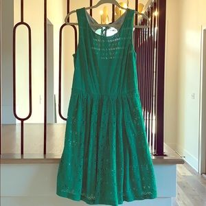 Anthropologie green knit lace dress